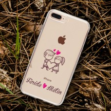 Kalp Tutan Aşıklar Şeffaf Telefon Kılıfı